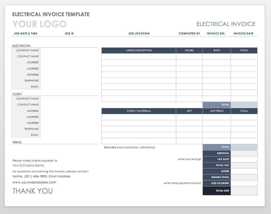 Electrical Invoice Template