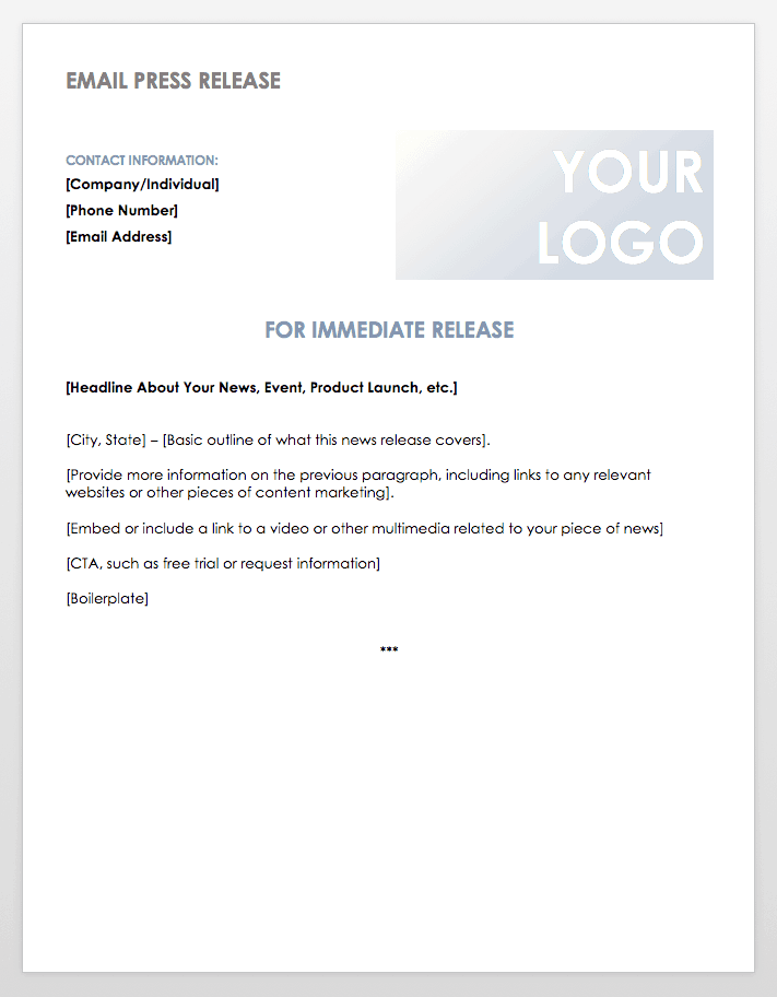 Email Press Release