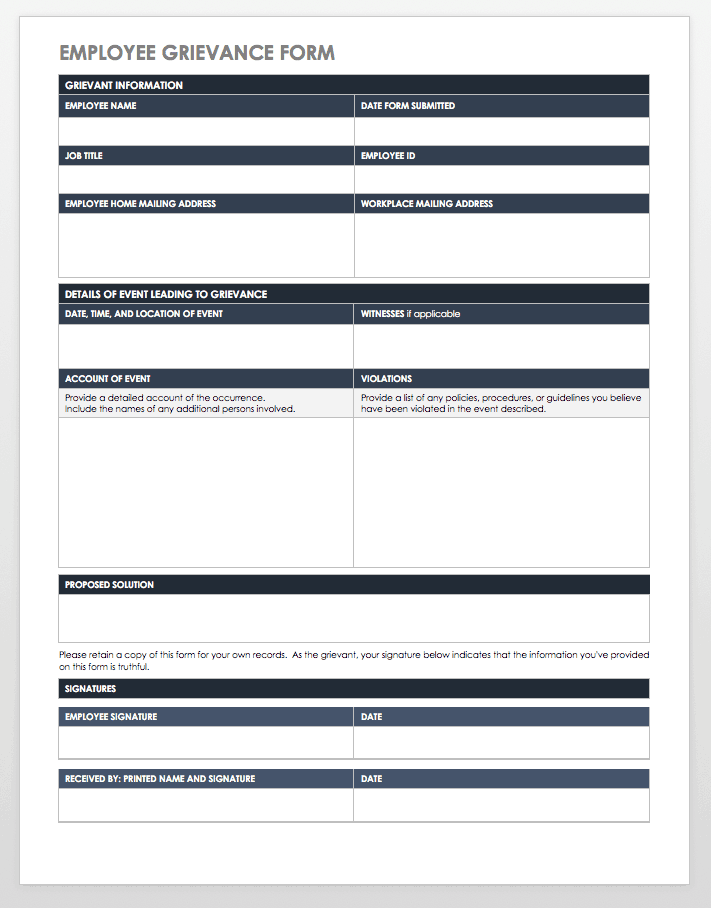 Free Grievance Form Templates Smartsheet