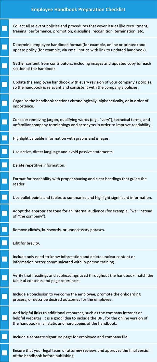 Employee Handbook Preparation Checklist