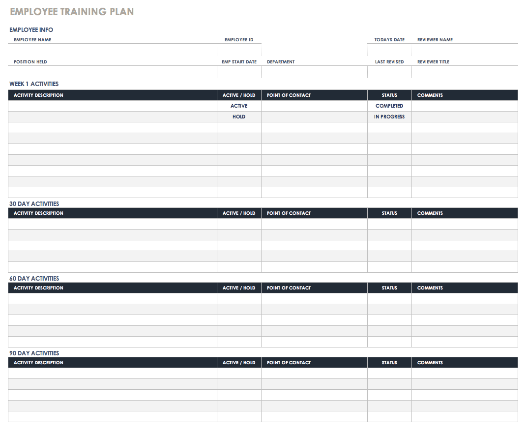 Free Training Plan Templates For Business Use Smartsheet