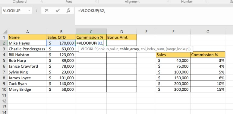 Excel approximate match argument