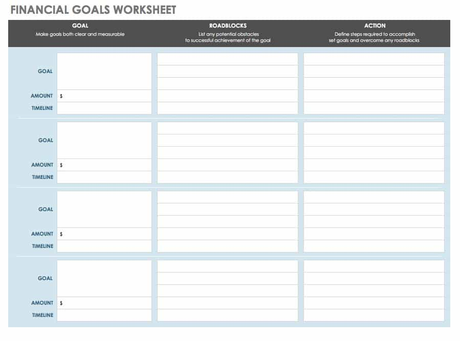 Financial Goals Worksheet Templates