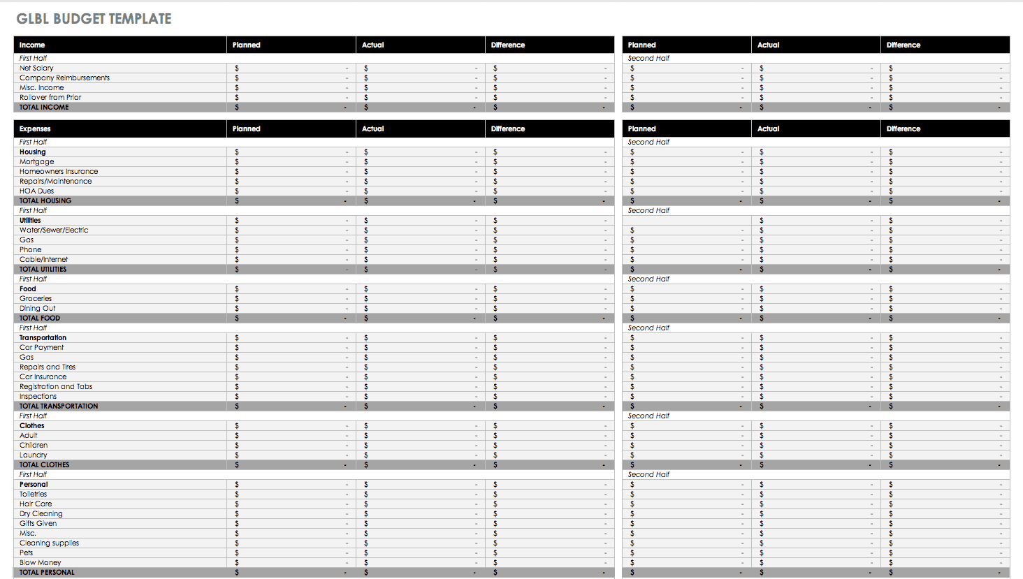 income outcome spreadsheet template