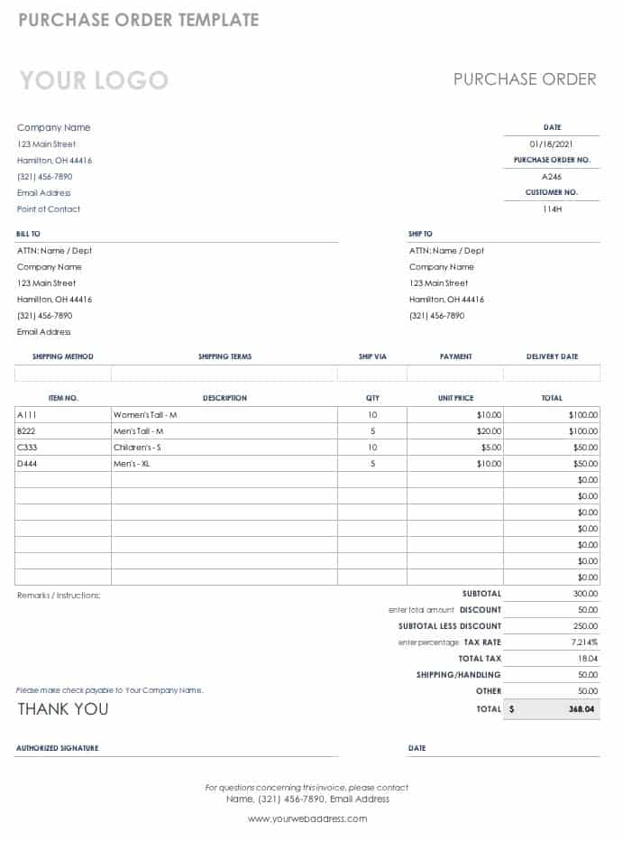 Generic Purchase Order Templates