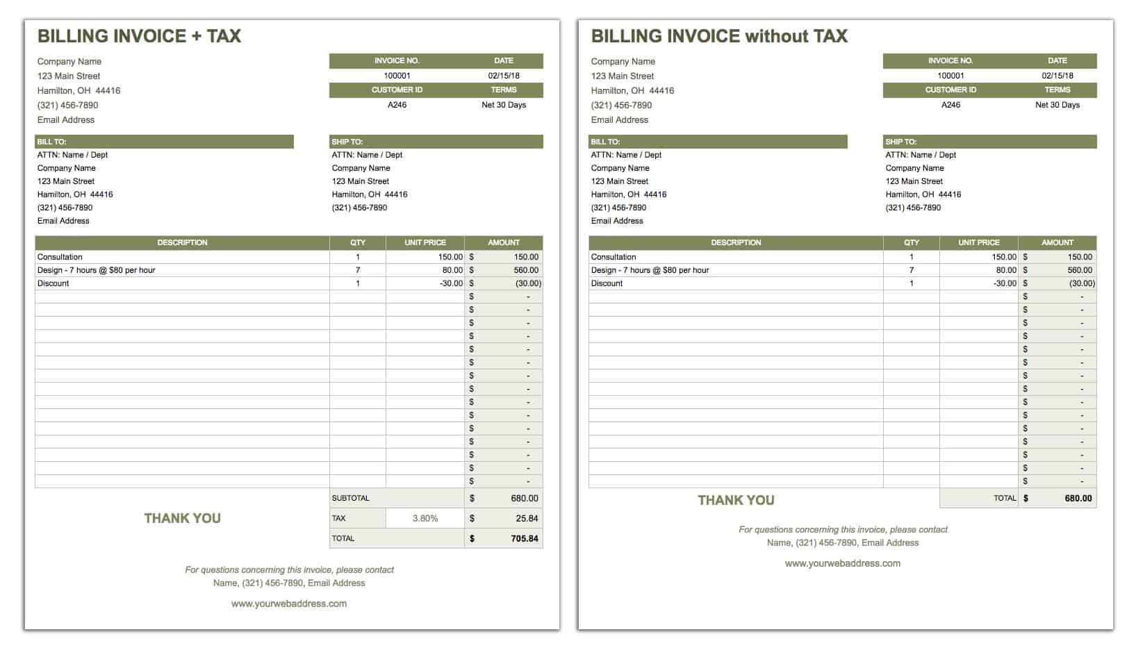 Billing Invoice Template - Google Sheets