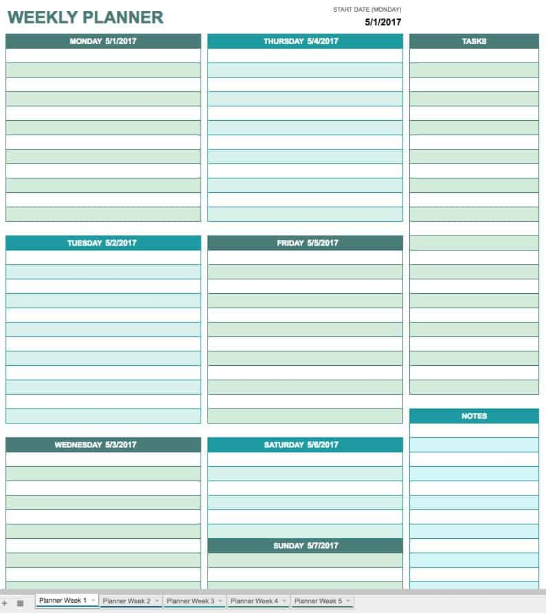 Free printable daily calendar templates smartsheet for Online planner