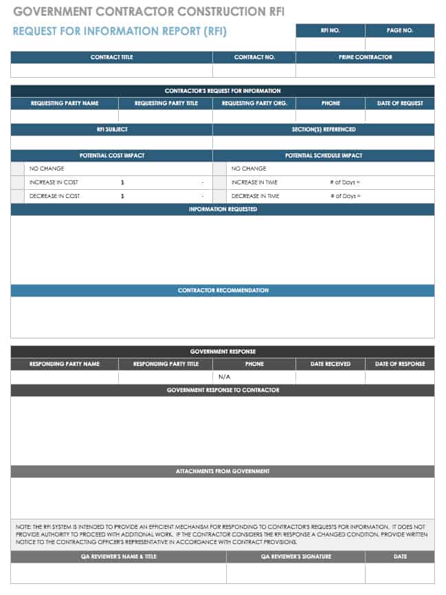 free construction rfi templates and forms