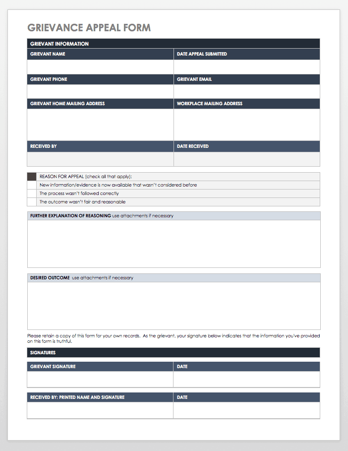Grievance Appeal Template
