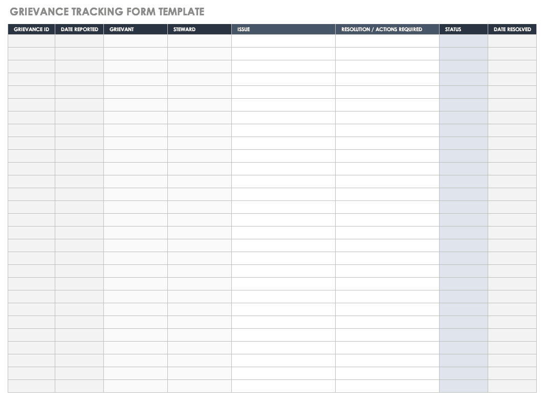 Grievance Tracking Form Template