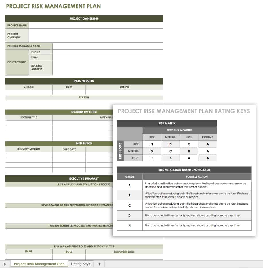 Project risk management plan template