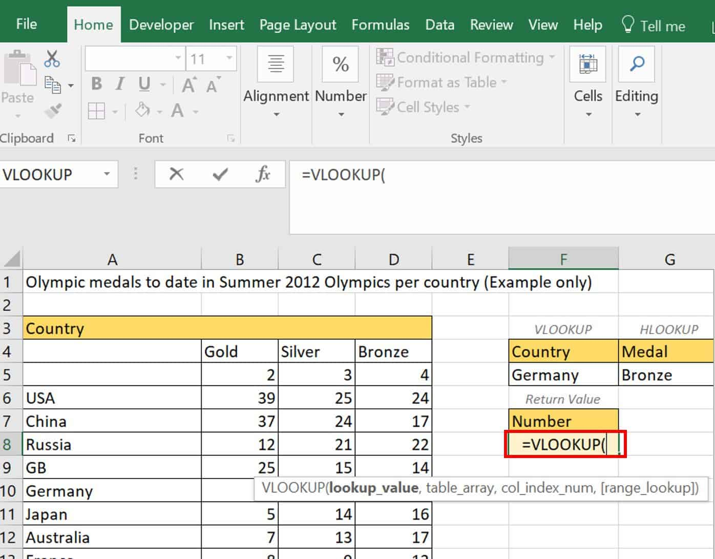 HLOOKUP arguments example