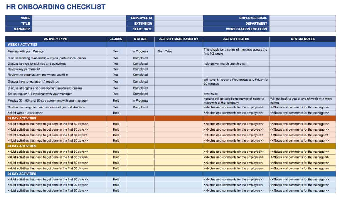 This Human Resources Onboarding Checklist Provides An Outline For Each Stage Of Program You Can Create Itemized List Activities