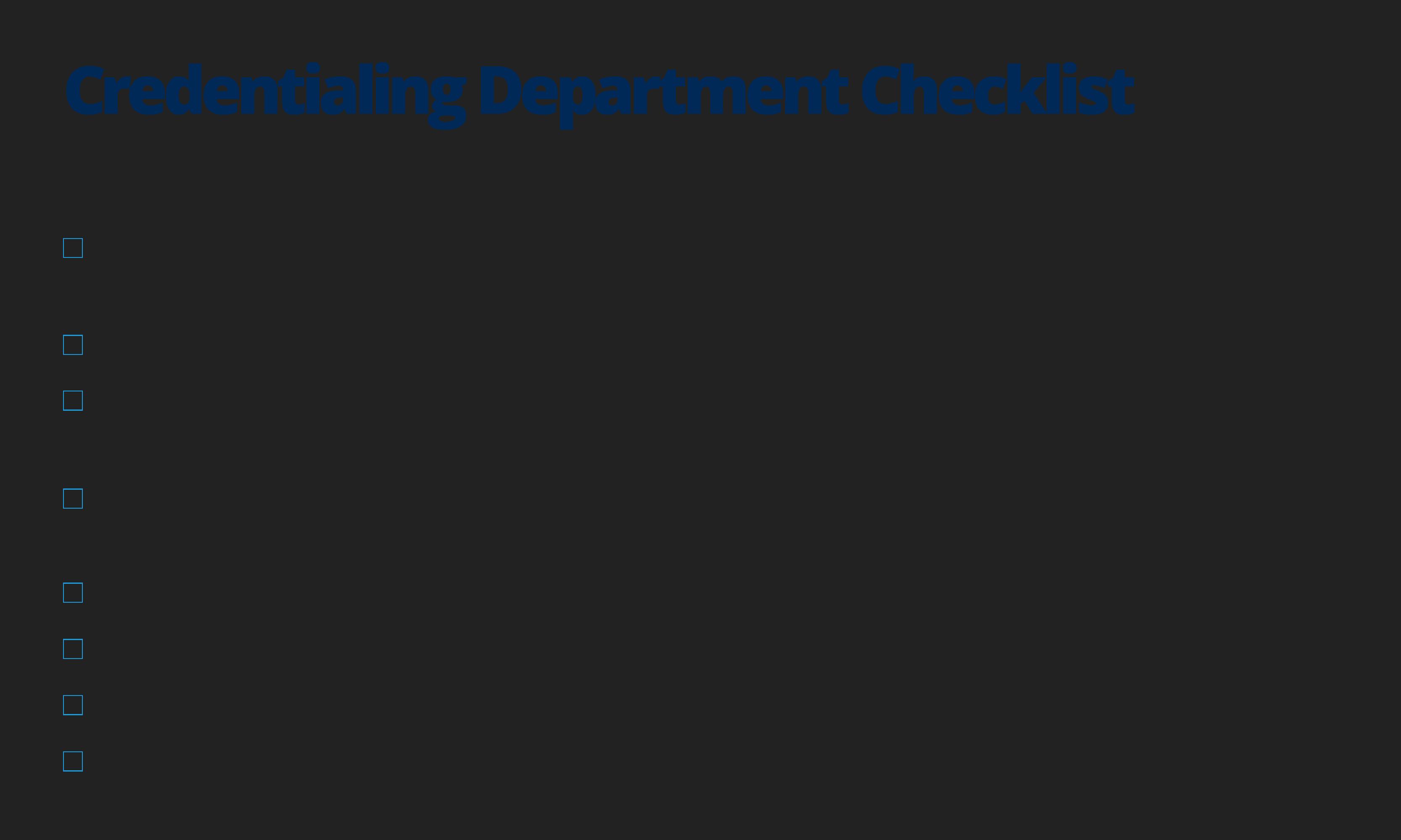 Healthcare Provider Credentialing Application Checklist