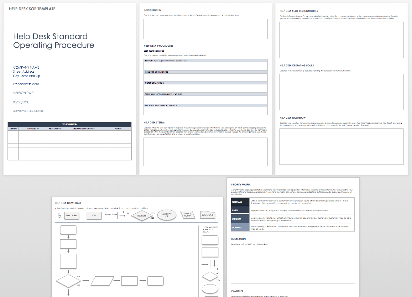 Standard Operating Procedures Templates Smartsheet