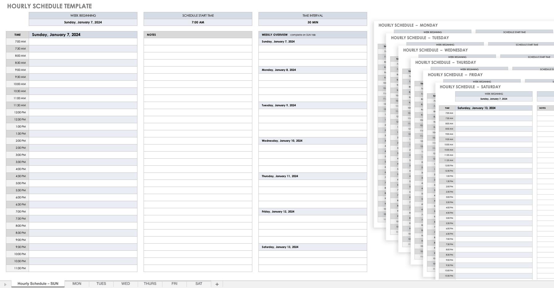 Hourly Schedule Template