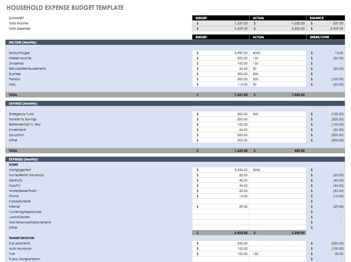 templates for monthly expenses