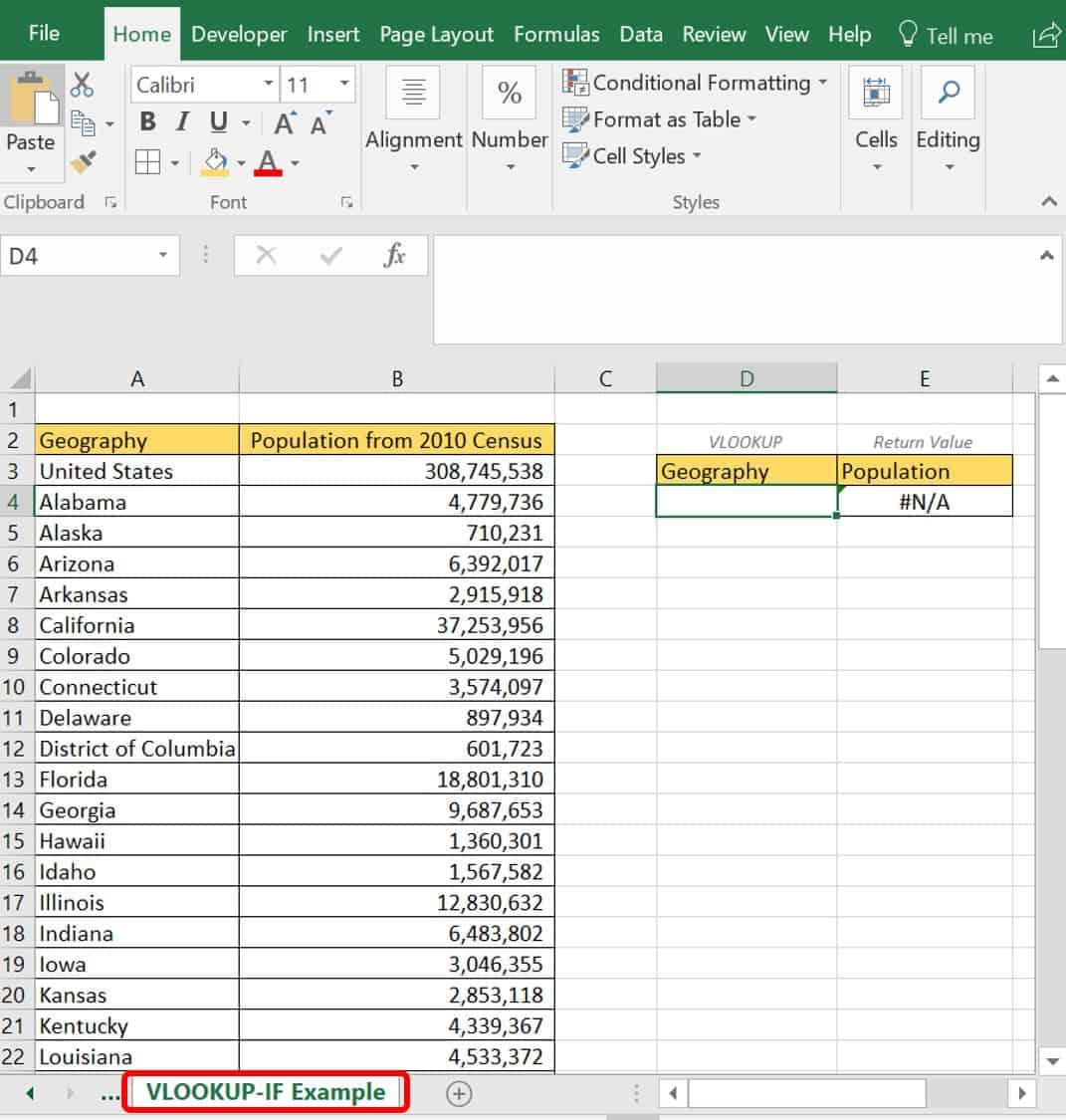 IF Function Excel example