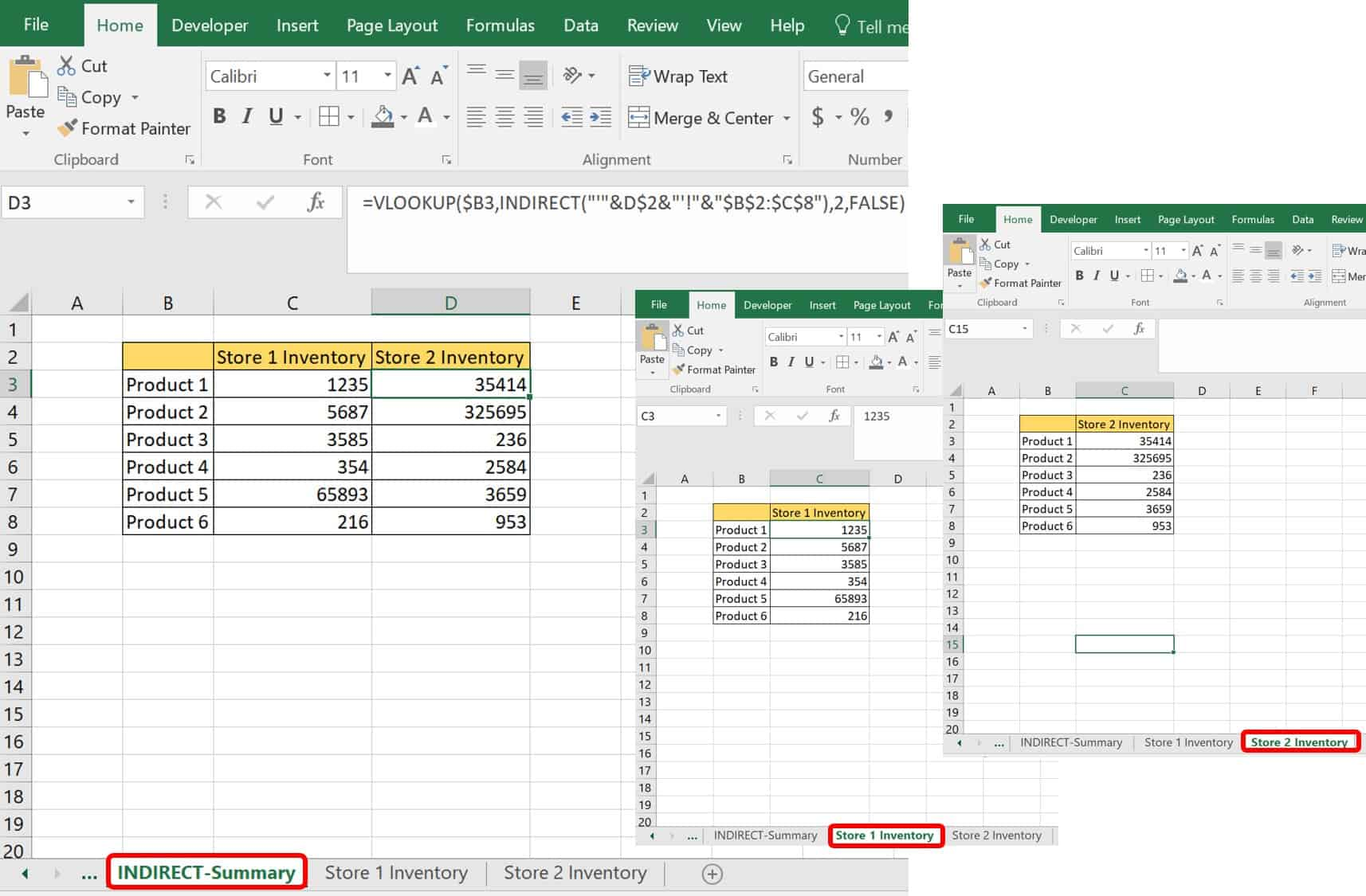 Excel Indirect functions example