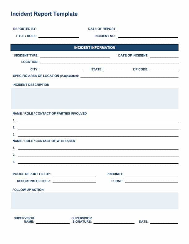 serious incident report template - free incident report templates smartsheet