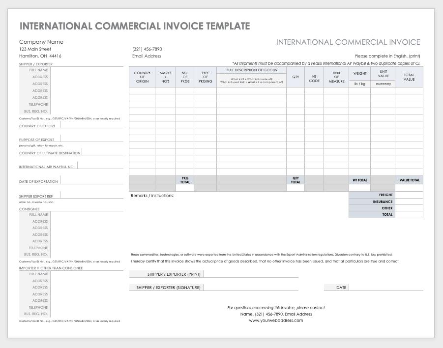Free Ms Word Invoices Templates Smartsheet