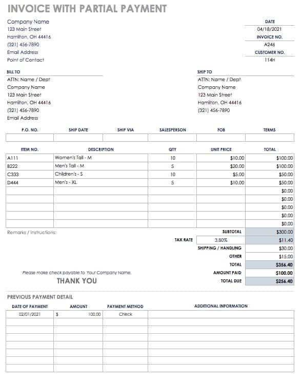 Invoice with partial Payment Template