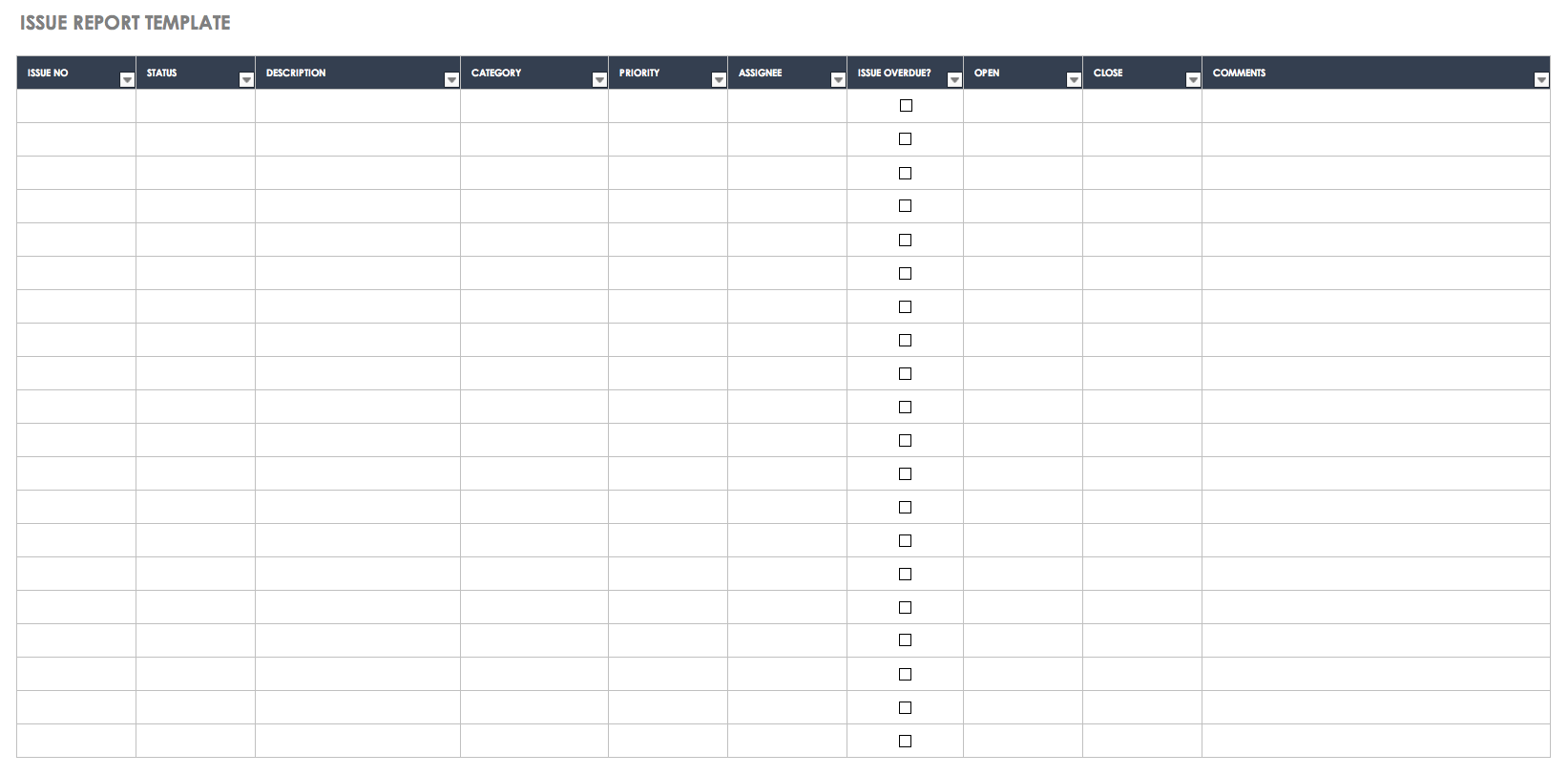 Issue Report Template