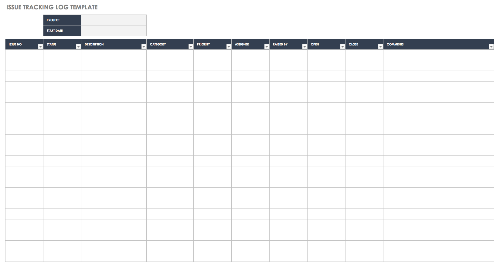 Issue Tracking Log Template