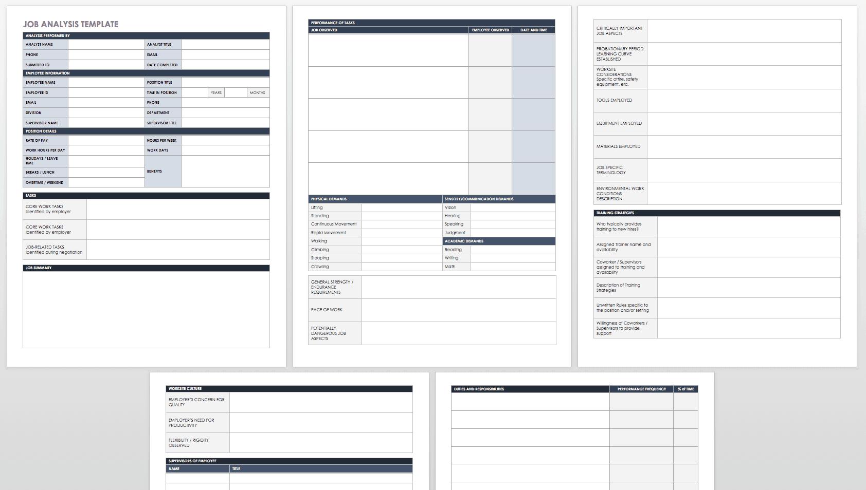 free job analysis templates