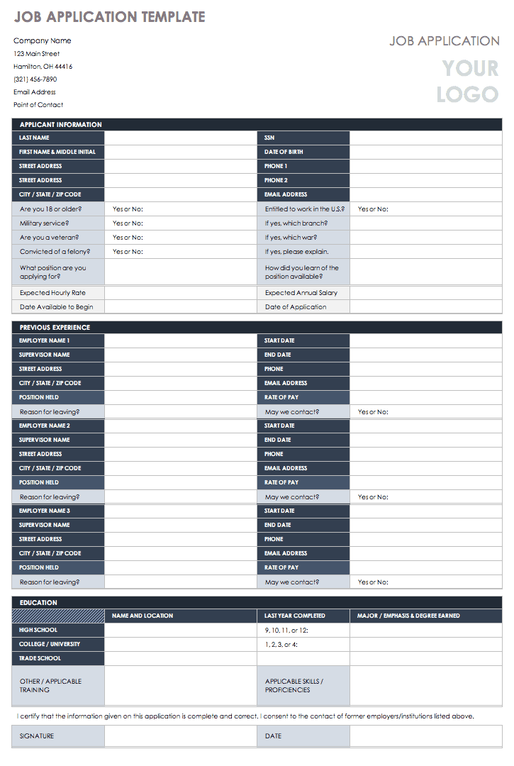 Free Employment Application Templates Smartsheet