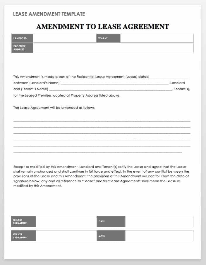 Lease Amendment Template