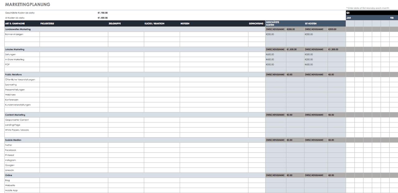 Kostenlose Excel Vorlagen Marketingplanung | Smartsheet
