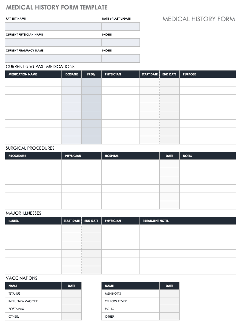 photo regarding Medical Charts Templates identified as No cost Clinical Kind Templates Smartsheet