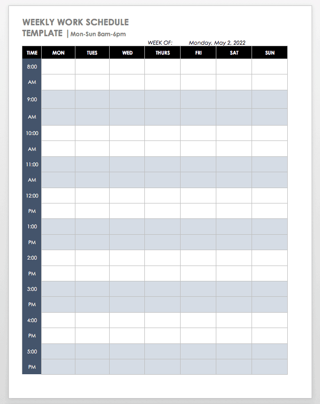 Mon-Sun 8-6 Weekly Schedule Template Word