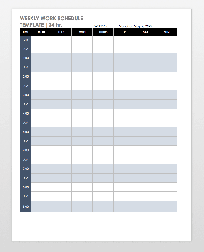 Mon-Sun Weekly 24h Schedule Template Word