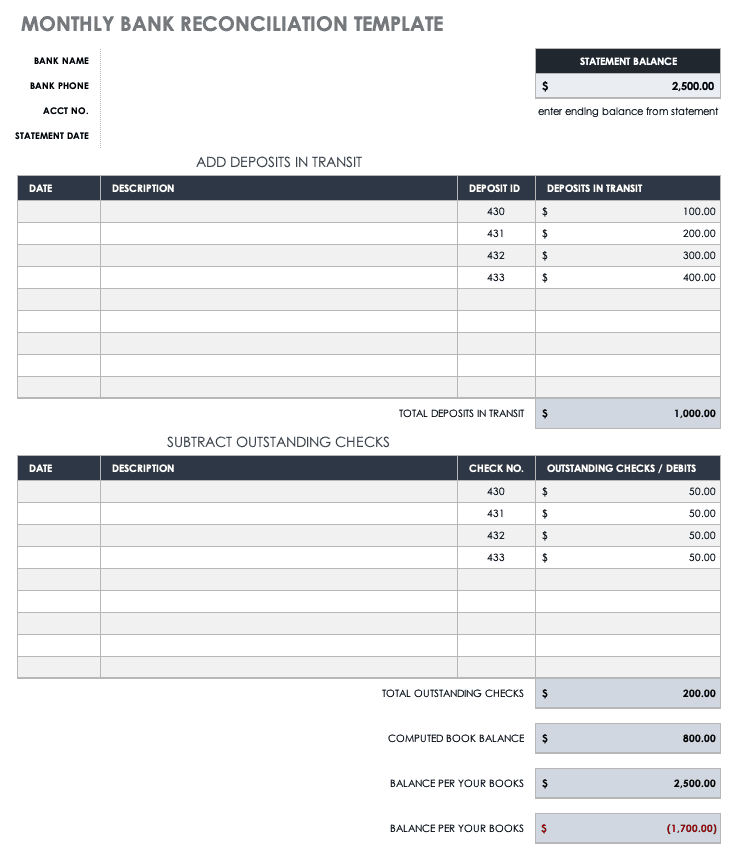 Free Account Reconciliation Templates Smartsheet