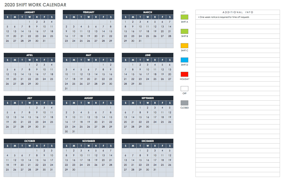 Monthly Shift Work Calendar 2020
