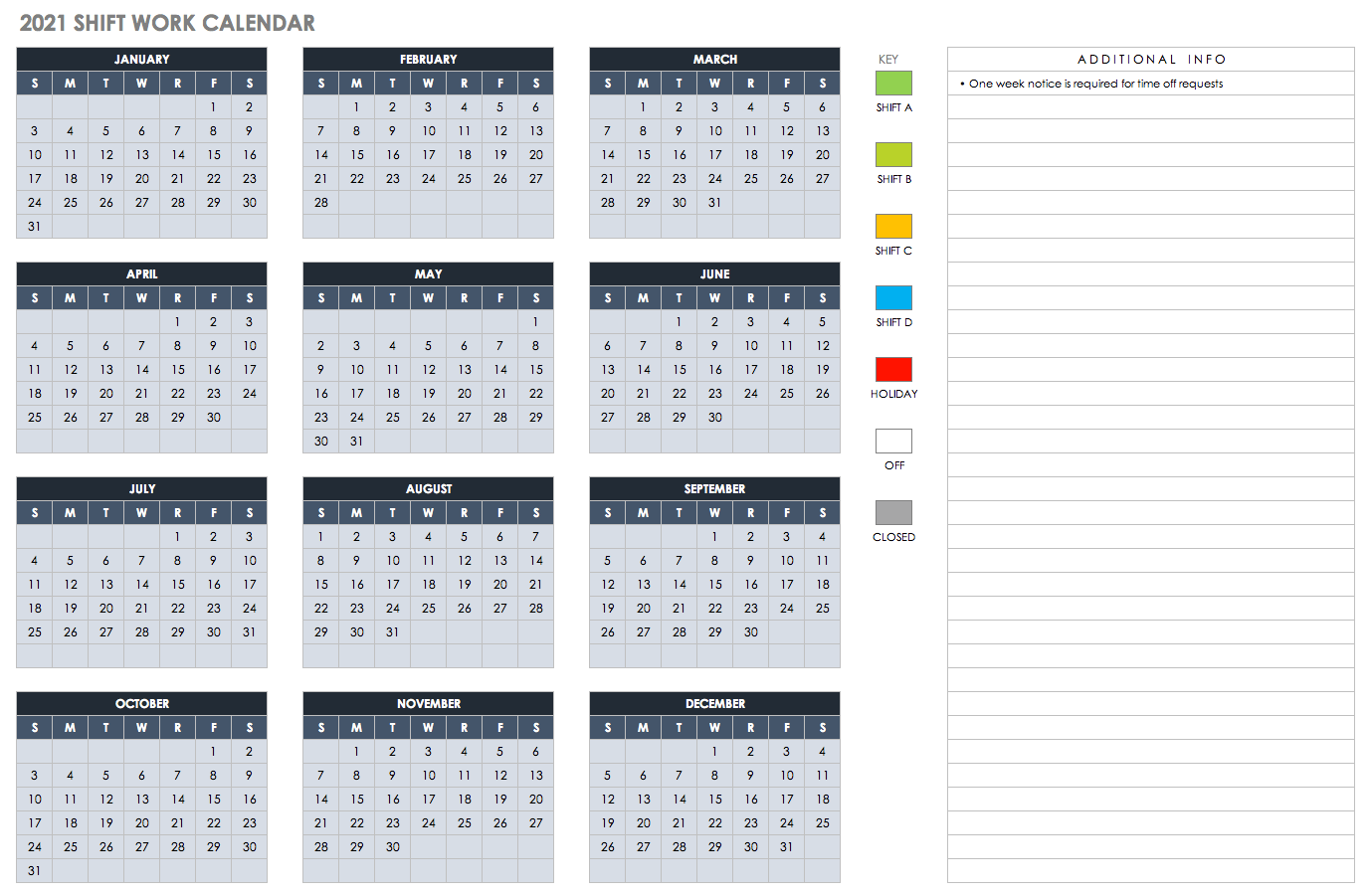 2021 Monthly Shift Work Calendar