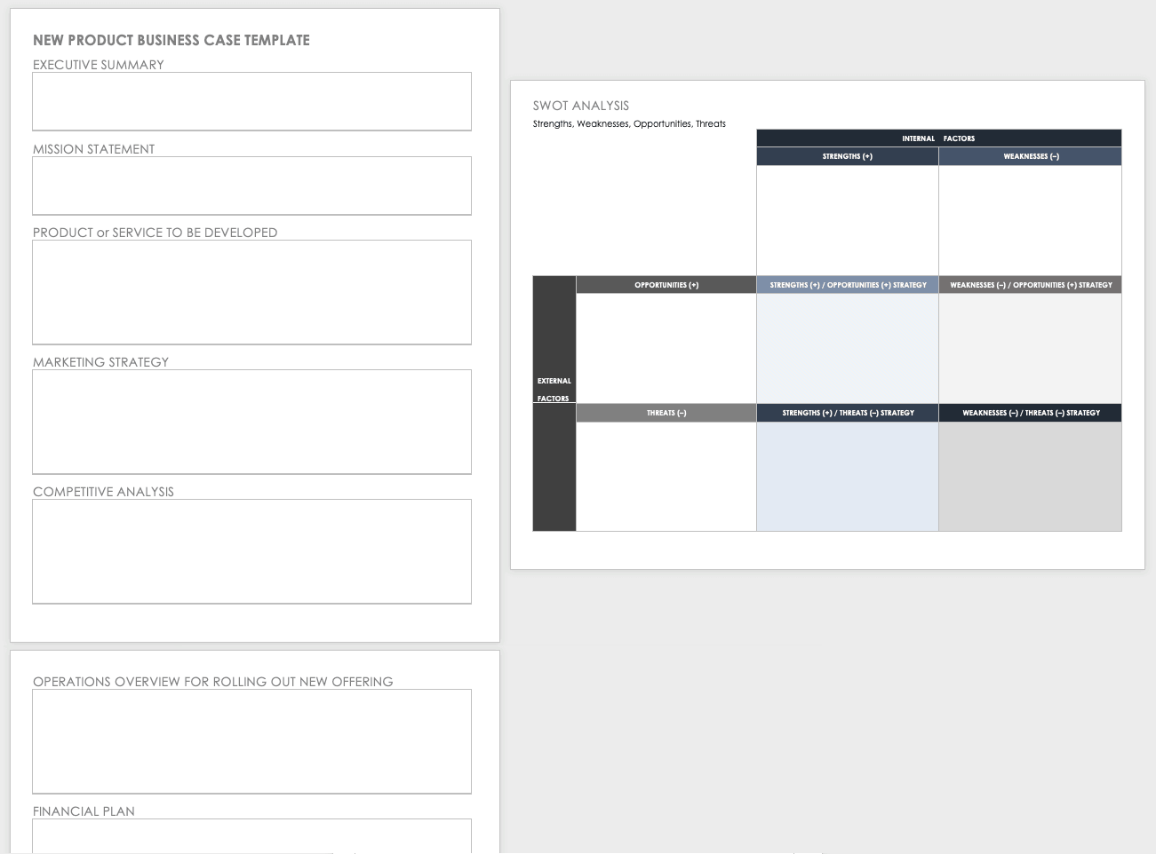 New Product Business Case Template