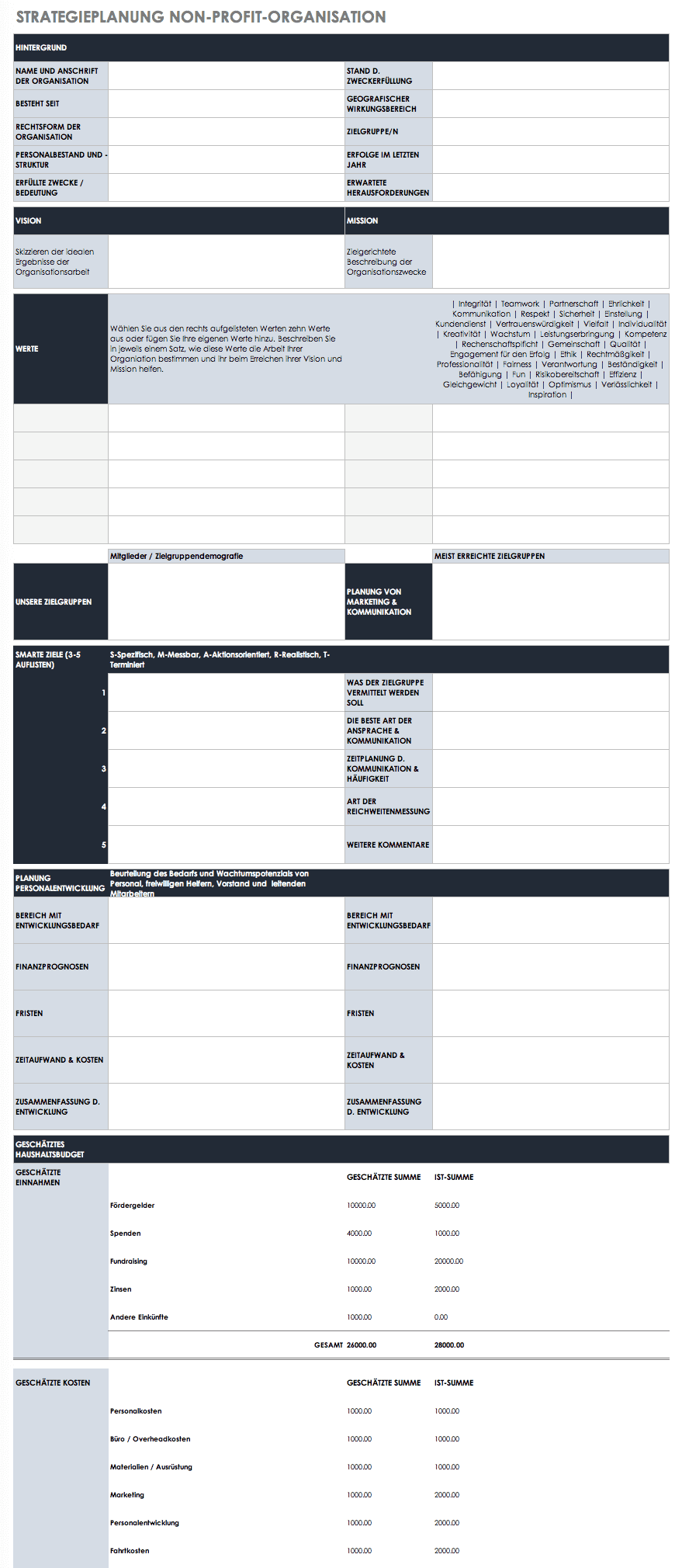 Vorlage Strategieplanung für Non-Profit Organisationen