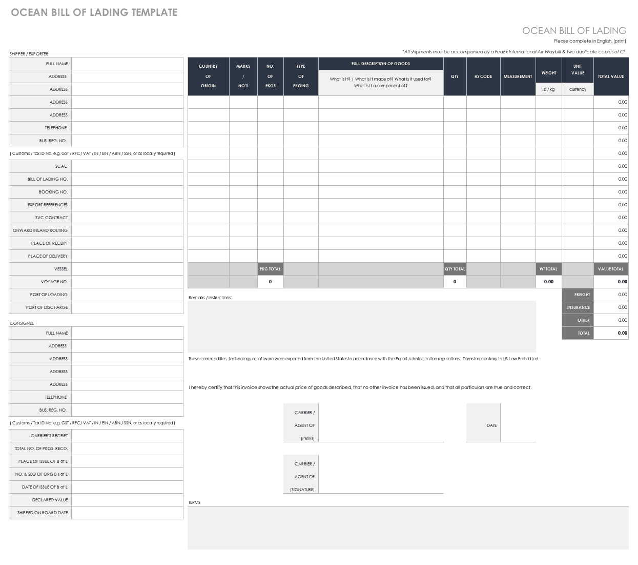 Free Bill of Lading Templates | Smartsheet