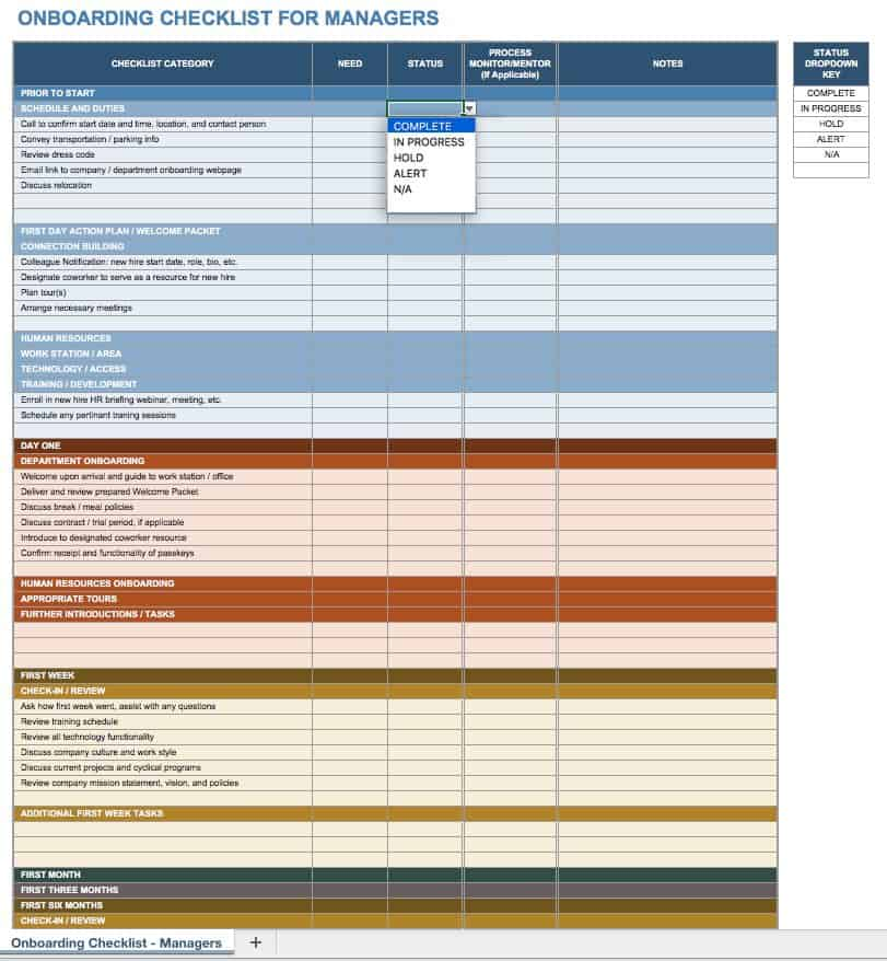 Managers Can Use This Checklist Template To Make Sure All Bases Have Been Covered For Each Stage Of An Onboarding Program A Manager S Tasks Are Listed
