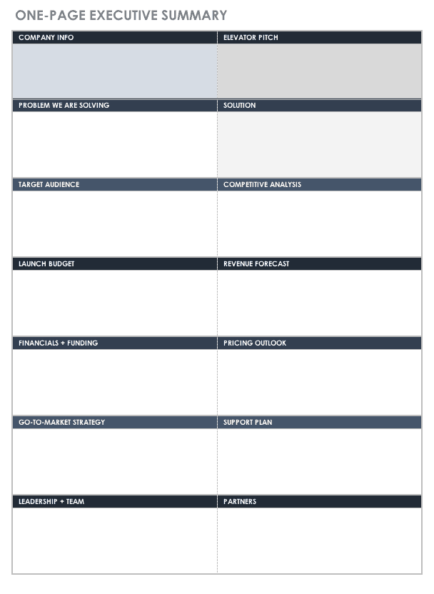 free executive summary templates