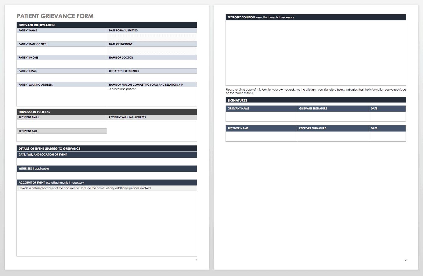 Patient Grievance Form Template