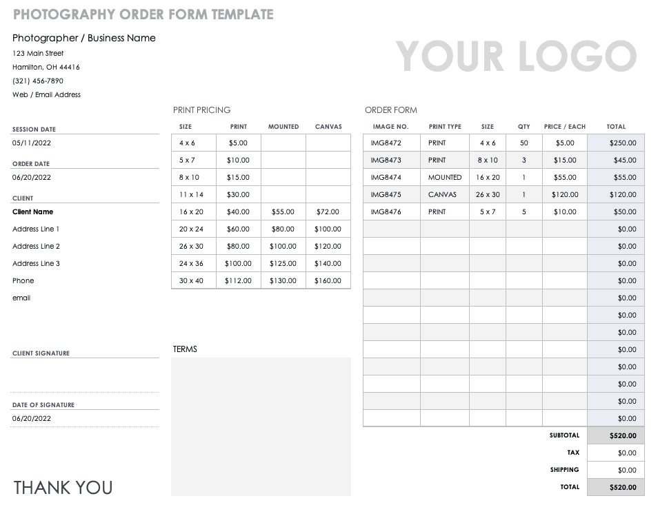 Photography Order Form Template