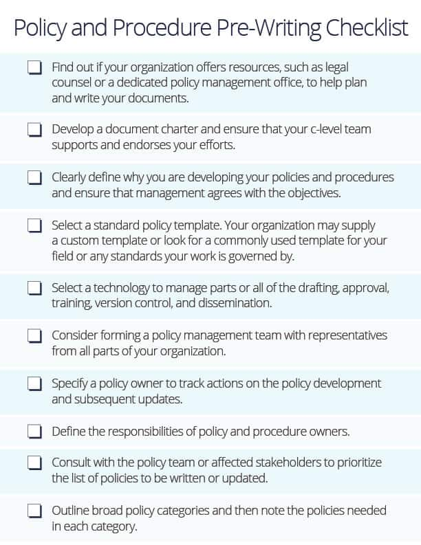 Policy Procedure Pre-Writing Checklist