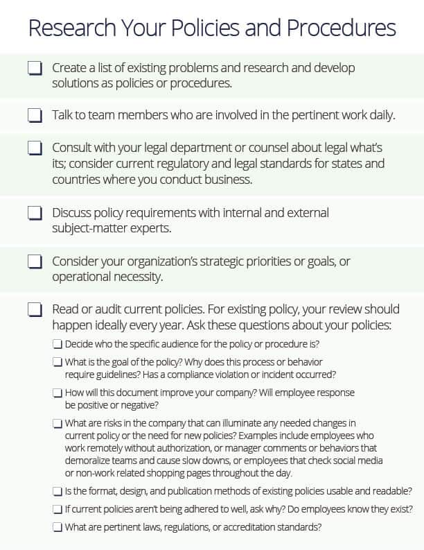 Policy Procedure Research Checklist