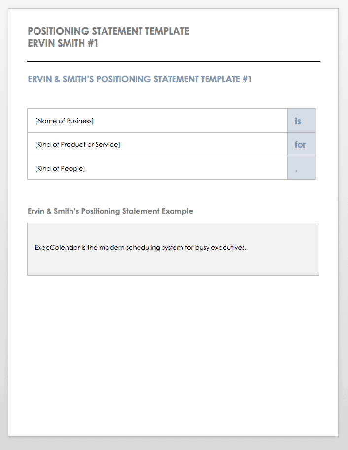 Positioning Statement Template Ervin Smith 1