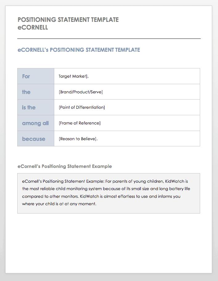 Positioning Statement Template eCornell