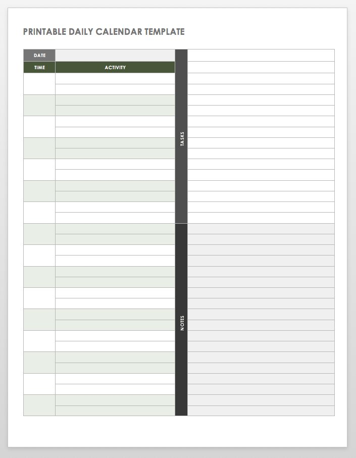 image about Daily Calendar Printable identified as Free of charge Printable Day by day Calendar Templates Smartsheet